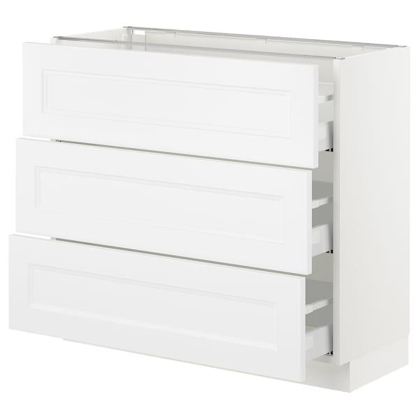 "SEKTION Base cabinet with 3 drawers, white Maximera/Axstad matt white, 36x15x30 """