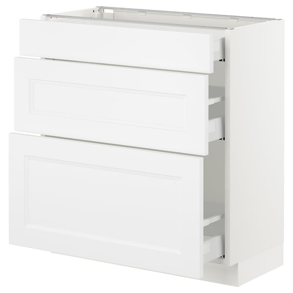 "SEKTION Base cabinet with 3 drawers, white Maximera/Axstad matt white, 30x15x30 """