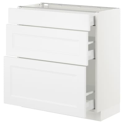 SEKTION Base cabinet with 3 drawers, white Maximera/Axstad matt white, 30x15x30 ""