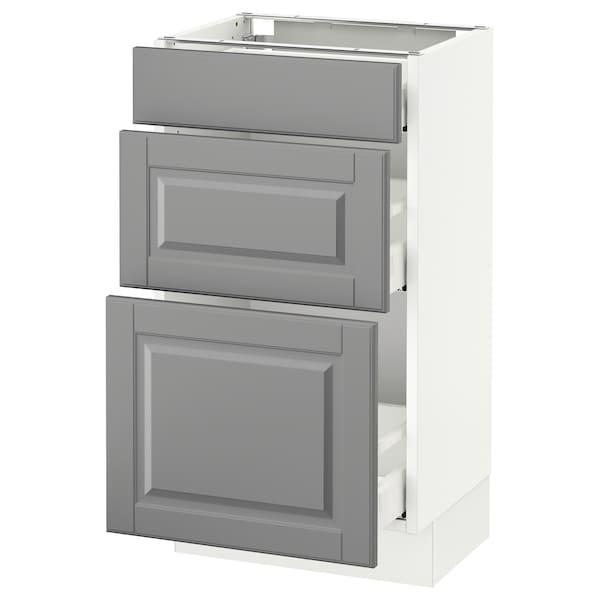 "SEKTION Base cabinet with 3 drawers, white Maximera/Bodbyn gray, 18x15x30 """