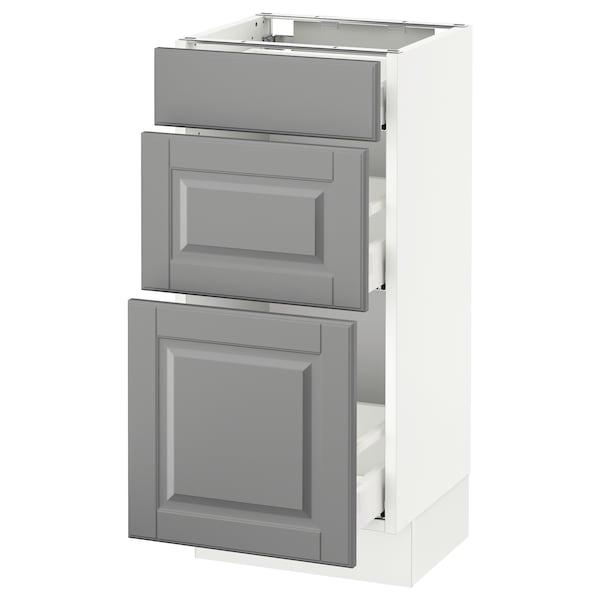 "SEKTION Base cabinet with 3 drawers, white Maximera/Bodbyn gray, 15x15x30 """