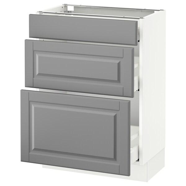 "SEKTION Base cabinet with 3 drawers, white Maximera/Bodbyn gray, 24x15x30 """