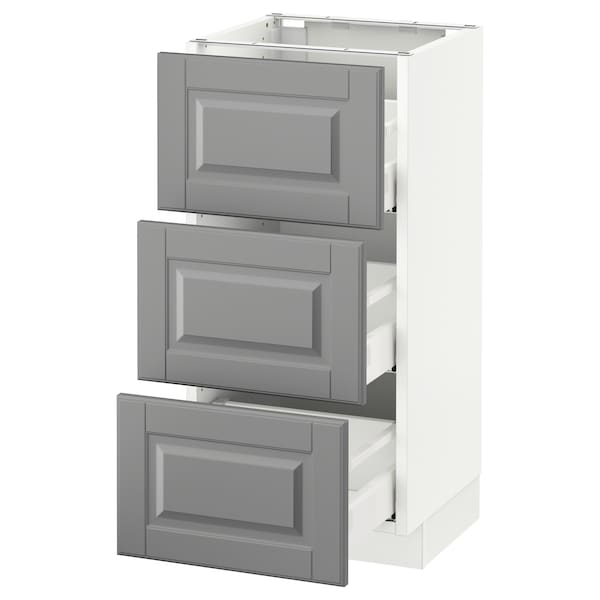 SEKTION Base cabinet with 3 drawers, white Maximera/Bodbyn gray, 15x15x30 ""