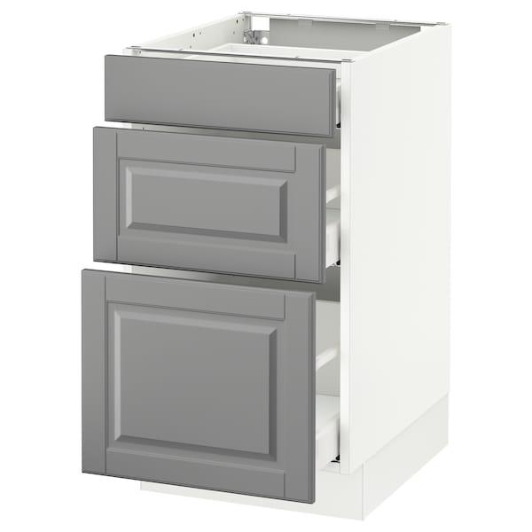 "SEKTION Base cabinet with 3 drawers, white Maximera/Bodbyn gray, 18x24x30 """