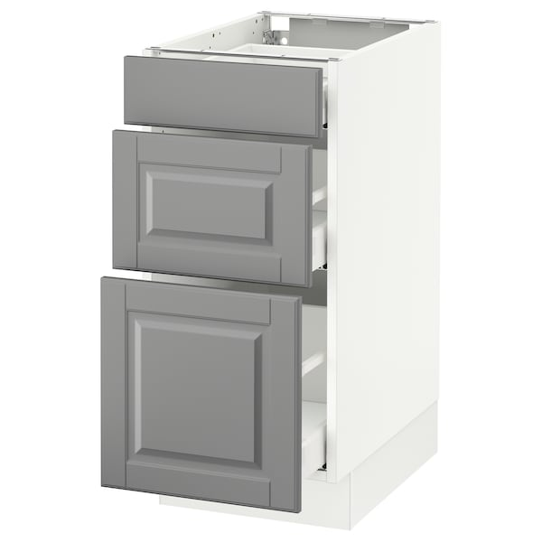 SEKTION Base cabinet with 3 drawers, white Maximera/Bodbyn gray, 15x24x30 ""