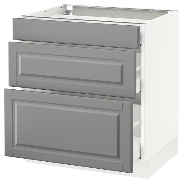 "SEKTION Base cabinet with 3 drawers, white Maximera/Bodbyn gray, 30x24x30 """