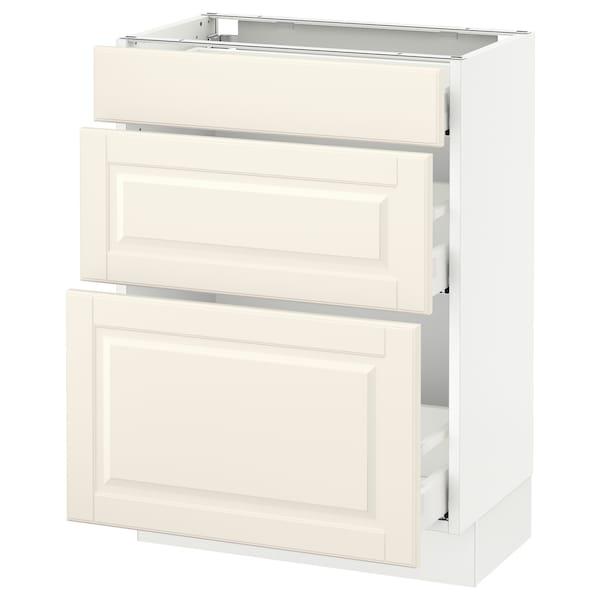 "SEKTION Base cabinet with 3 drawers, white Maximera/Bodbyn off-white, 24x15x30 """