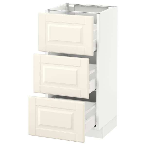 SEKTION Base cabinet with 3 drawers, white Maximera/Bodbyn off-white, 15x15x30 ""