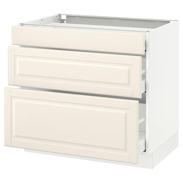 "SEKTION Base cabinet with 3 drawers, white Maximera/Bodbyn off-white, 36x24x30 """