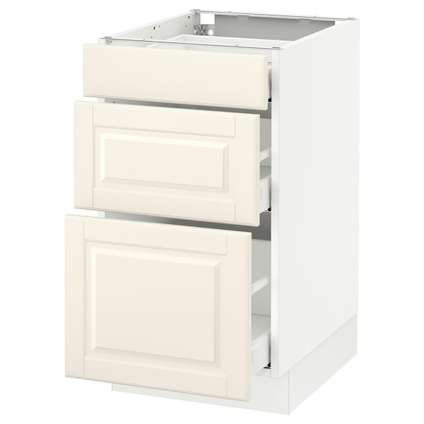 SEKTION Base cabinet with 3 drawers, white Maximera/Bodbyn off-white, 18x24x30 ""
