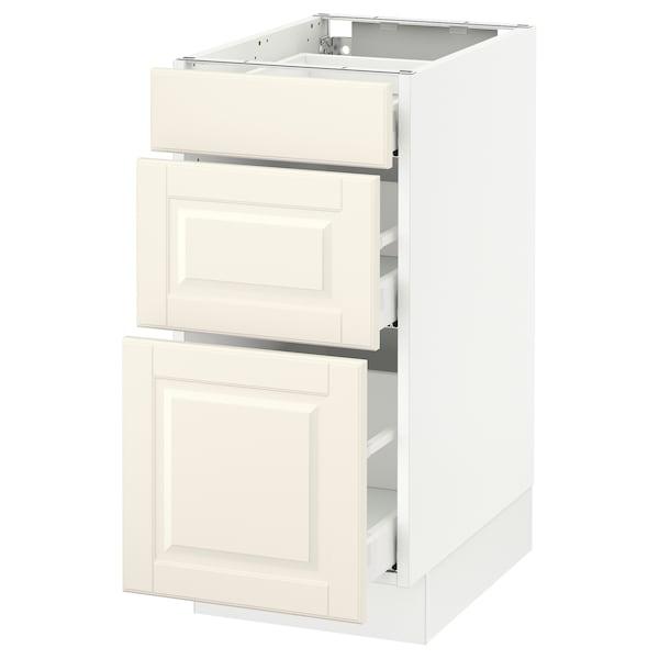 "SEKTION Base cabinet with 3 drawers, white Maximera/Bodbyn off-white, 15x24x30 """
