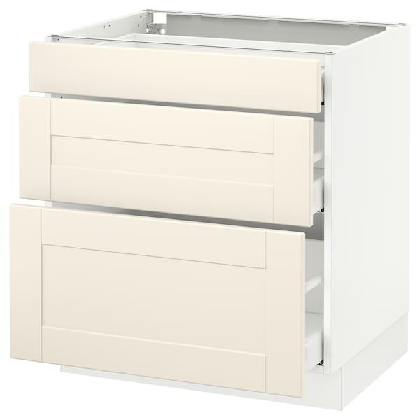 "SEKTION Base cabinet with 3 drawers, white Maximera/Grimslöv off-white, 30x24x30 """