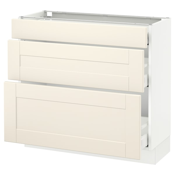 SEKTION Base cabinet with 3 drawers, white Maximera/Grimslöv off-white, 36x15x30 ""