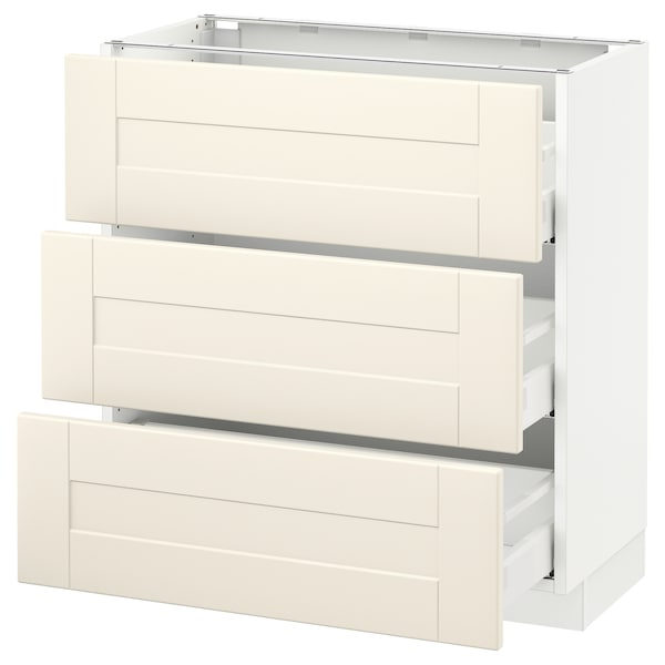 SEKTION Base cabinet with 3 drawers, white Maximera/Grimslöv off-white, 30x15x30 ""