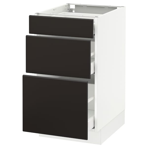 """SEKTION Base cabinet with 3 drawers, white Maximera/Kungsbacka anthracite, 18x24x30 """""""