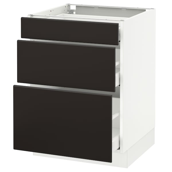 """SEKTION Base cabinet with 3 drawers, white Maximera/Kungsbacka anthracite, 24x24x30 """""""