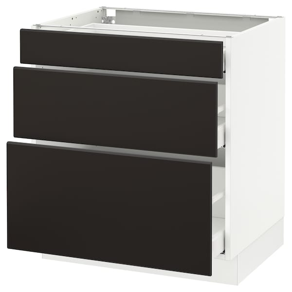 """SEKTION Base cabinet with 3 drawers, white Maximera/Kungsbacka anthracite, 30x24x30 """""""