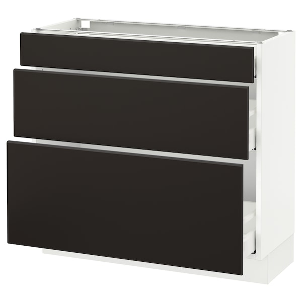 """SEKTION Base cabinet with 3 drawers, white Maximera/Kungsbacka anthracite, 36x15x30 """""""