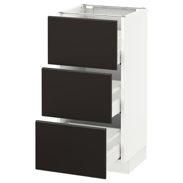 """SEKTION Base cabinet with 3 drawers, white Maximera/Kungsbacka anthracite, 15x15x30 """""""