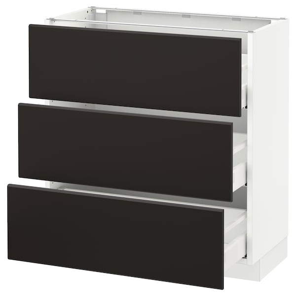 SEKTION Base cabinet with 3 drawers, white Maximera/Kungsbacka anthracite, 30x15x30 ""