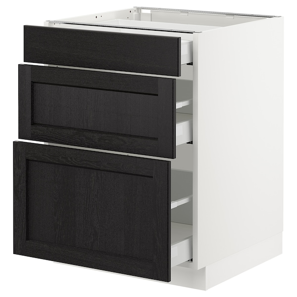 """SEKTION Base cabinet with 3 drawers, white Maximera/Lerhyttan black stained, 24x24x30 """""""