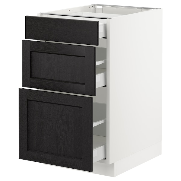 SEKTION Base cabinet with 3 drawers, white Maximera/Lerhyttan black stained, 18x24x30 ""