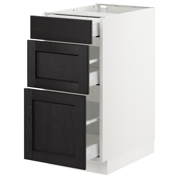 SEKTION Base cabinet with 3 drawers, white Maximera/Lerhyttan black stained, 15x24x30 ""