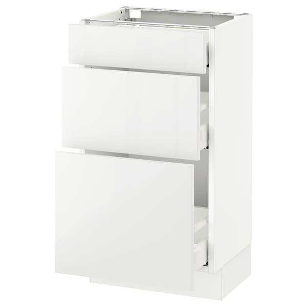 "SEKTION Base cabinet with 3 drawers, white Maximera/Ringhult white, 18x15x30 """