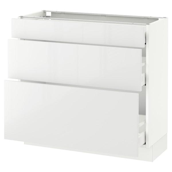 "SEKTION Base cabinet with 3 drawers, white Maximera/Ringhult white, 36x15x30 """