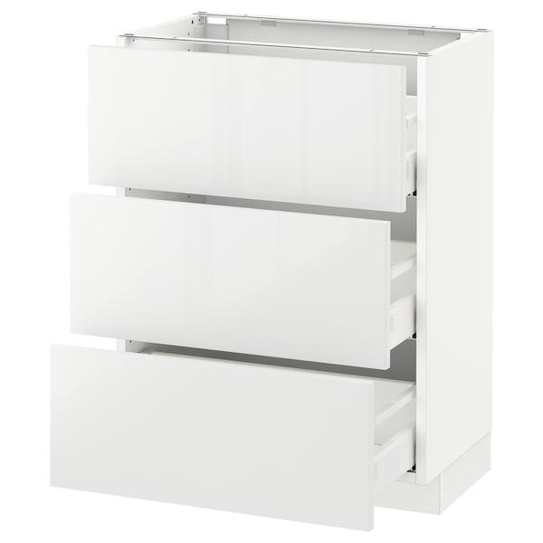 "SEKTION Base cabinet with 3 drawers, white Maximera/Ringhult white, 24x15x30 """
