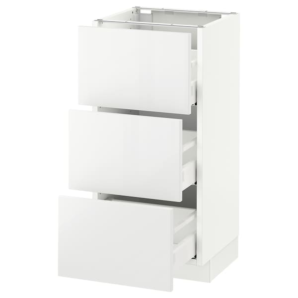 SEKTION Base cabinet with 3 drawers, white Maximera/Ringhult white, 15x15x30 ""