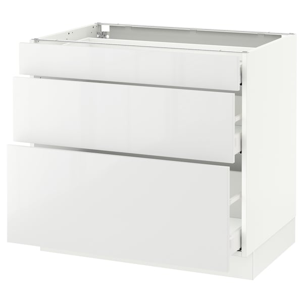 "SEKTION Base cabinet with 3 drawers, white Maximera/Ringhult white, 36x24x30 """