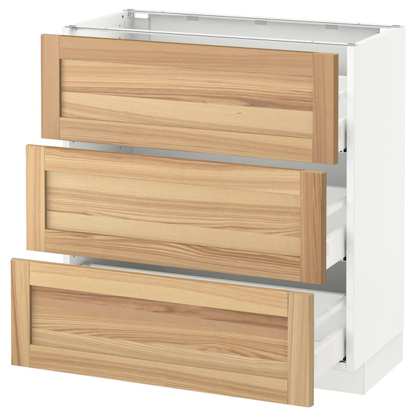 """SEKTION Base cabinet with 3 drawers, white Maximera/Torhamn ash, 30x15x30 """""""