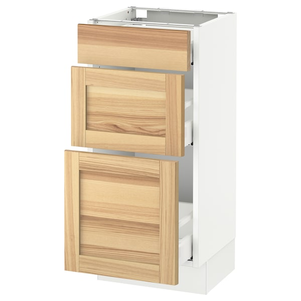 SEKTION Base cabinet with 3 drawers, white Maximera/Torhamn ash, 15x15x30 ""