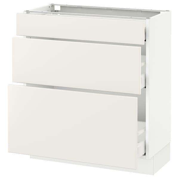 """SEKTION Base cabinet with 3 drawers, white Maximera/Veddinge white, 30x15x30 """""""