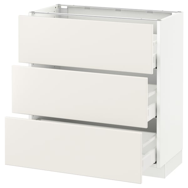 SEKTION Base cabinet with 3 drawers, white Maximera/Veddinge white, 30x15x30 ""