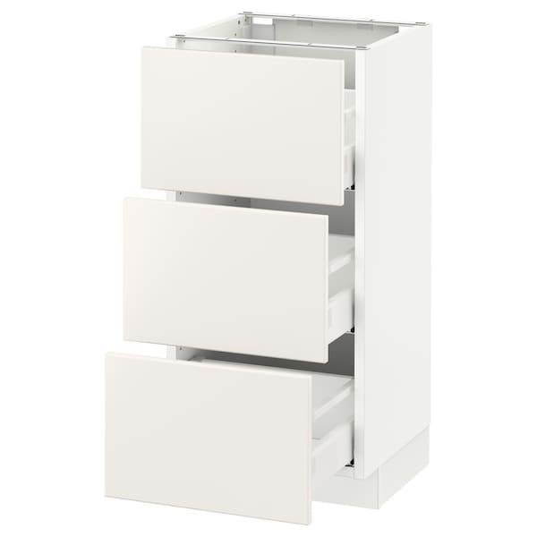 """SEKTION Base cabinet with 3 drawers, white Maximera/Veddinge white, 15x15x30 """""""