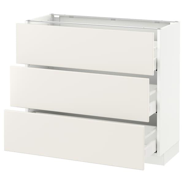 """SEKTION Base cabinet with 3 drawers, white Maximera/Veddinge white, 36x15x30 """""""