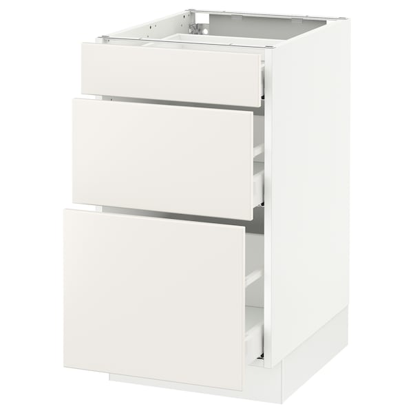 SEKTION Base cabinet with 3 drawers, white Maximera/Veddinge white, 18x24x30 ""