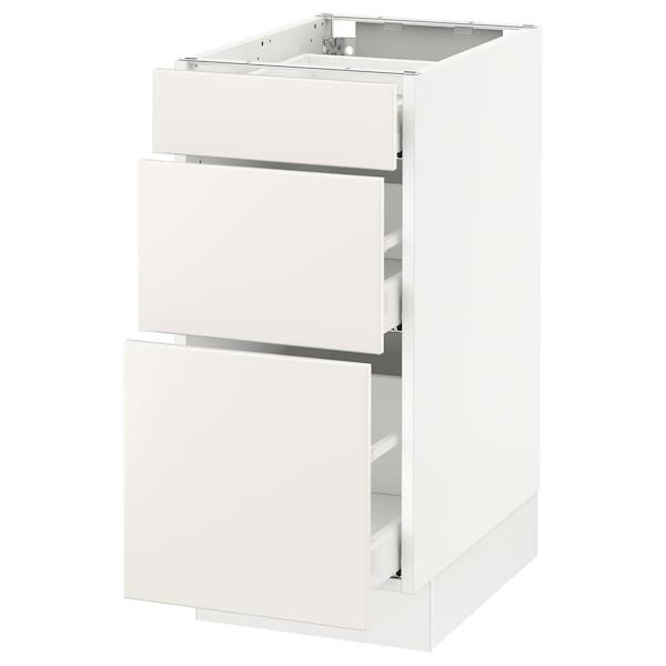 """SEKTION Base cabinet with 3 drawers, white Maximera/Veddinge white, 15x24x30 """""""