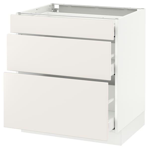 """SEKTION Base cabinet with 3 drawers, white Maximera/Veddinge white, 30x24x30 """""""