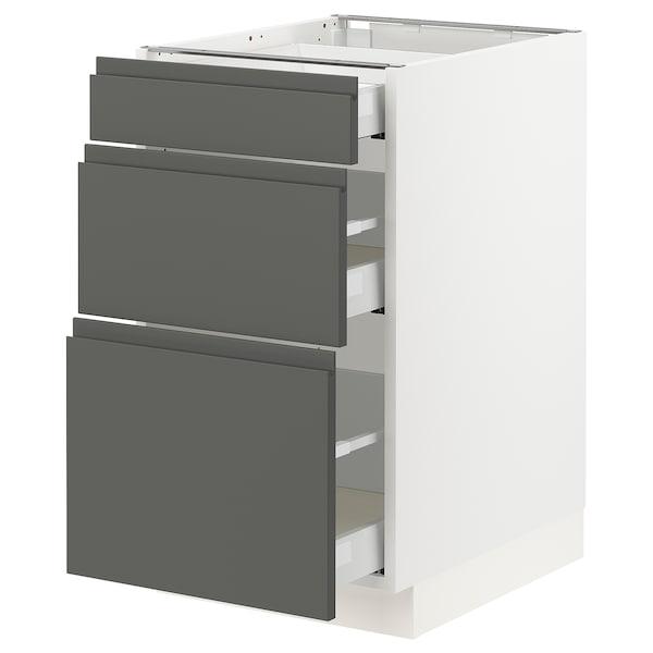 "SEKTION Base cabinet with 3 drawers, white Maximera/Voxtorp dark gray, 18x24x30 """