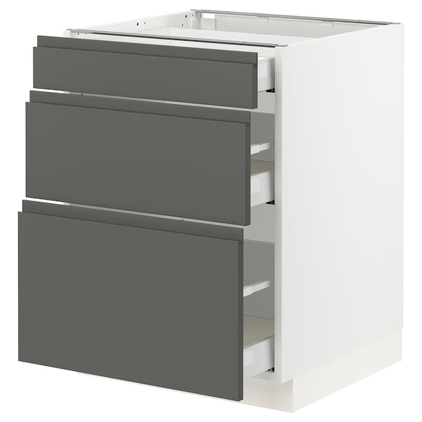 "SEKTION Base cabinet with 3 drawers, white Maximera/Voxtorp dark gray, 24x24x30 """