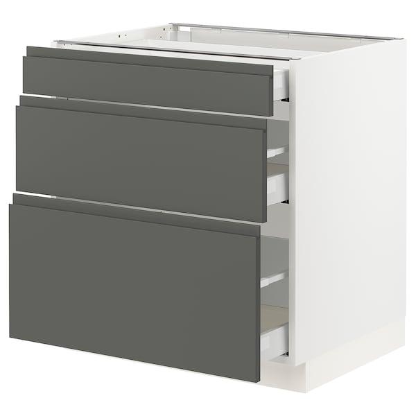 "SEKTION Base cabinet with 3 drawers, white Maximera/Voxtorp dark gray, 30x24x30 """
