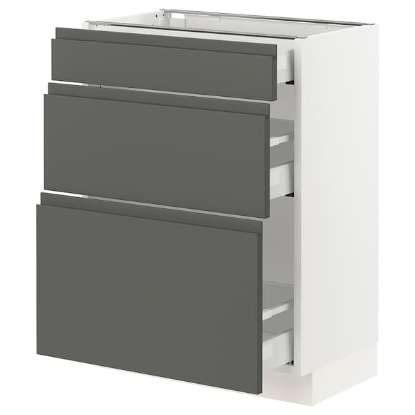 SEKTION Base cabinet with 3 drawers, white Maximera/Voxtorp dark gray, 24x15x30 ""