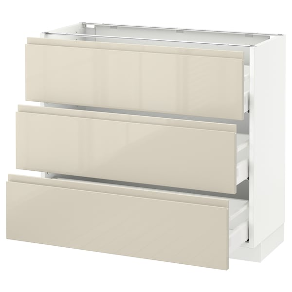 """SEKTION Base cabinet with 3 drawers, white Maximera/Voxtorp high-gloss light beige, 36x15x30 """""""