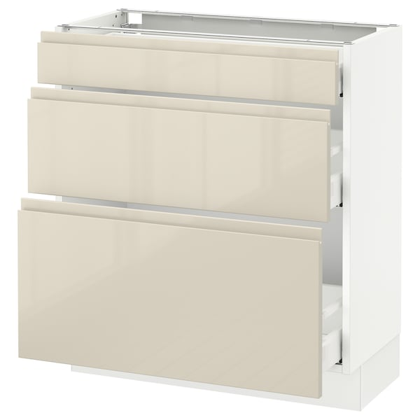"""SEKTION Base cabinet with 3 drawers, white Maximera/Voxtorp high-gloss light beige, 30x15x30 """""""