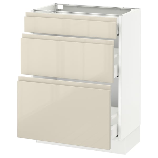 """SEKTION Base cabinet with 3 drawers, white Maximera/Voxtorp high-gloss light beige, 24x15x30 """""""