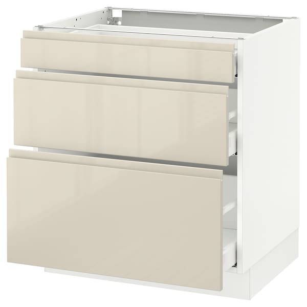 """SEKTION Base cabinet with 3 drawers, white Maximera/Voxtorp high-gloss light beige, 30x24x30 """""""