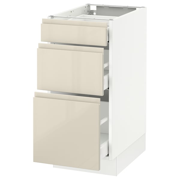SEKTION Base cabinet with 3 drawers, white Maximera/Voxtorp high-gloss light beige, 15x24x30 ""